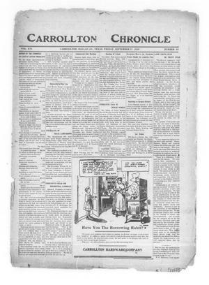 Primary view of object titled 'Carrollton Chronicle (Carrollton, Tex.), Vol. 16, No. 46, Ed. 1 Friday, September 17, 1920'.