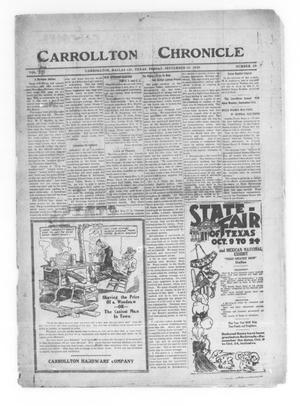 Primary view of object titled 'Carrollton Chronicle (Carrollton, Tex.), Vol. 16, No. 45, Ed. 1 Friday, September 10, 1920'.