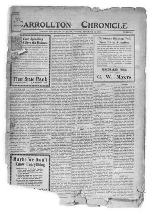 Primary view of object titled 'Carrollton Chronicle (Carrollton, Tex.), Vol. [10], No. 19, Ed. 1 Friday, December 12, 1913'.