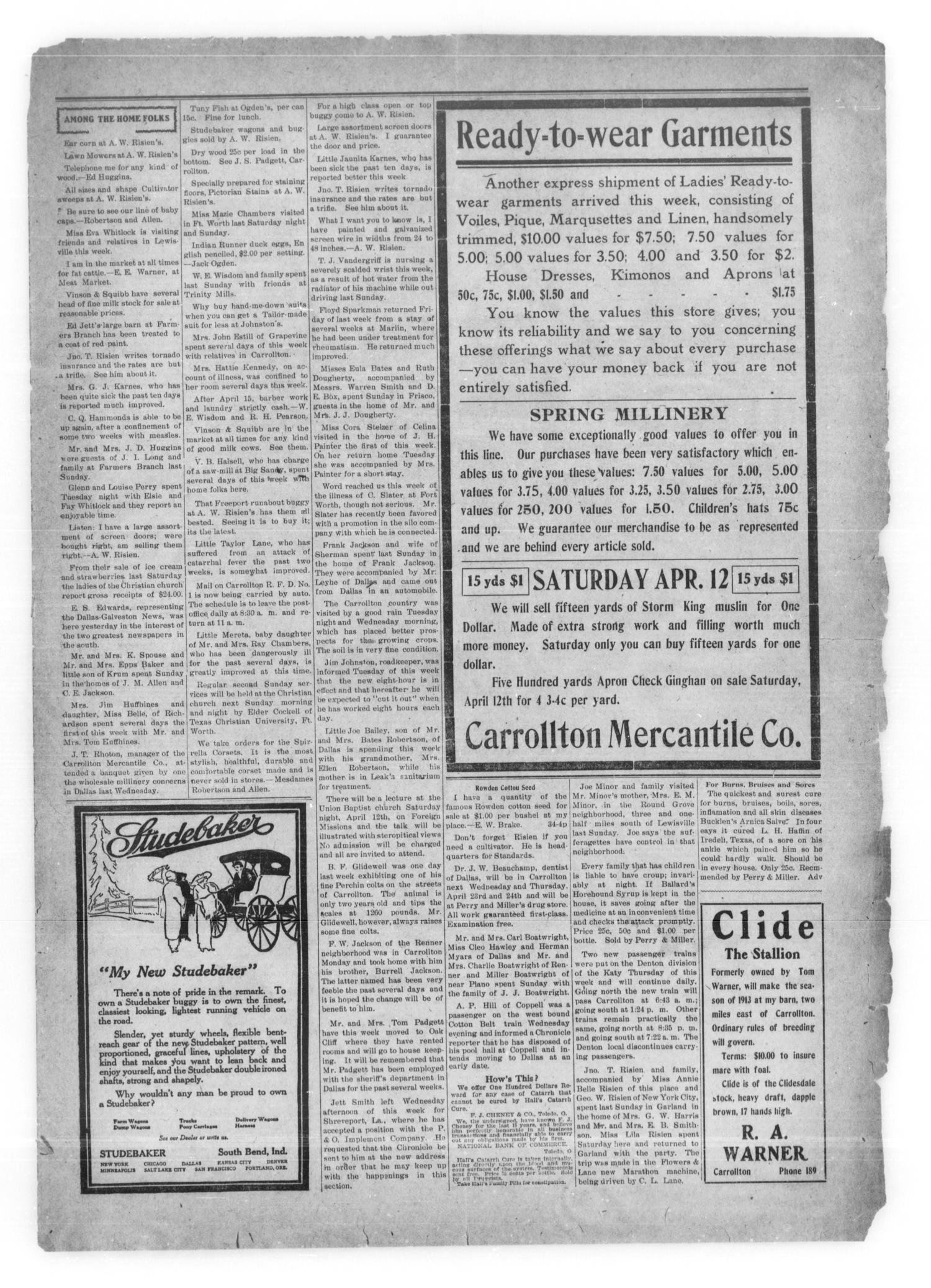 Carrollton Chronicle Carrollton Tex Vol 9 No 36 Ed 1