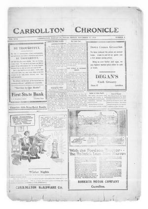 Primary view of object titled 'Carrollton Chronicle (Carrollton, Tex.), Vol. 17, No. 4, Ed. 1 Friday, November 26, 1920'.