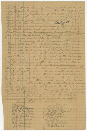 Primary view of object titled '[Petition to Create Padgett School District in Coryell County, Texas, May 27, 1901]'.