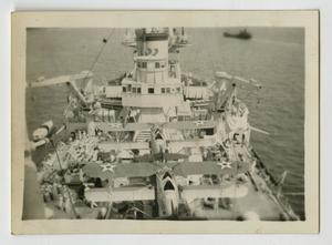 Primary view of object titled '[Photograph of Airplanes on U.S.S. Texas]'.