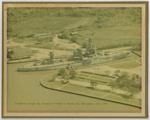 Primary view of object titled '[Photograph of U.S.S. Texas in Buffalo Bayou]'.