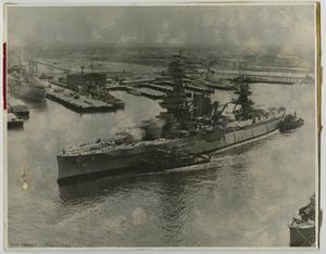 Primary view of object titled '[Photograph of U.S.S. Texas in Harbor]'.