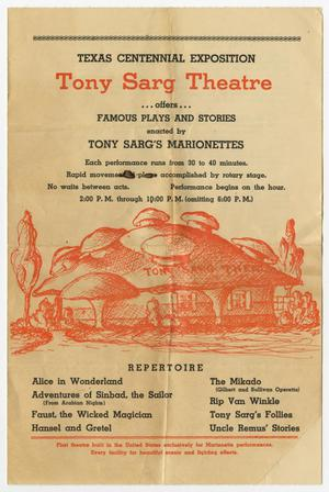 Primary view of object titled '[Program for the Tony Sarg Theatre Presentation at the Texas Centennial Exposition]'.