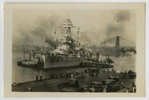 Primary view of object titled '[Photograph of U.S.S. Texas Docking]'.