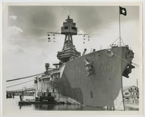 Primary view of object titled '[Photograph of U.S.S. Texas on Display]'.
