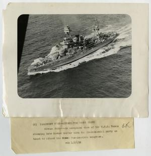Primary view of object titled '[Photograph of U.S.S. Texas Entering Havana Harbor]'.