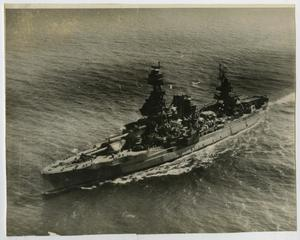Primary view of object titled '[Photograph of U.S.S. Texas from the Air]'.