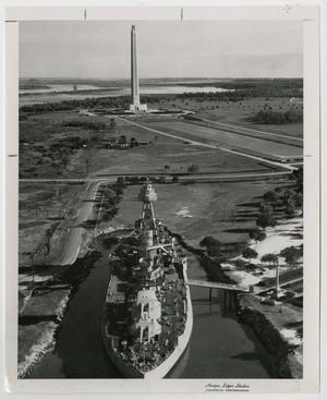 Primary view of object titled '[Photograph of U.S.S. Texas and San Jacinto Monument]'.