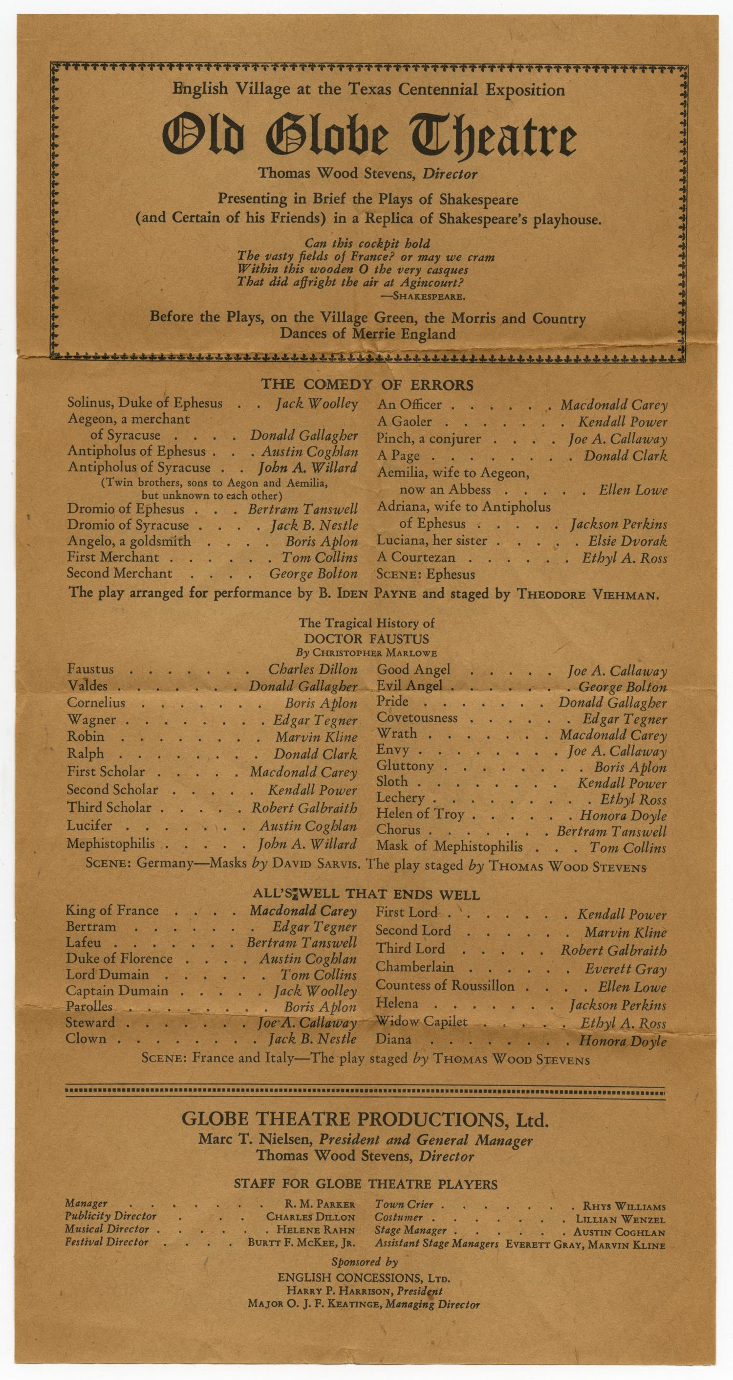 [Program for the Old Globe Theatre Presentation at the Texas Centennial Exposition]                                                                                                      [Sequence #]: 1 of 2