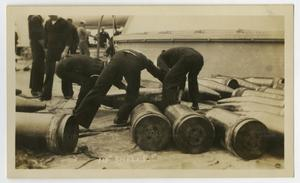 "Primary view of object titled '[Photograph of Men Loading 14"" Artillery Shells]'."