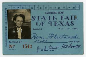 Primary view of object titled '[State Fair of Texas Exhibitor's Ticket for Rosa Fleetwood]'.