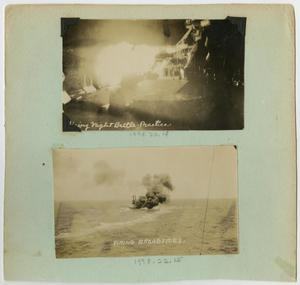 Primary view of object titled '[Scrapbook Page: U.S.S. Texas Guns Firing]'.