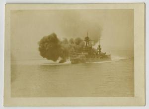 Primary view of object titled '[Photograph of U.S.S. Texas Guns Firing]'.