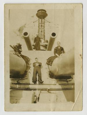 Primary view of object titled '[Photograph of Men on U.S.S. Texas Forecastle]'.