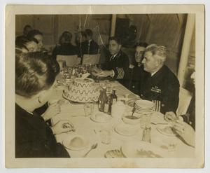 Primary view of object titled '[Photograph of U.S.S. Texas Dinner]'.