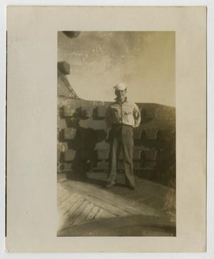 Primary view of object titled '[Photograph of a Sailor on U.S.S. Texas]'.