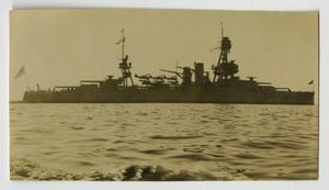Primary view of object titled '[Photograph of U.S.S. Texas at Christmas]'.