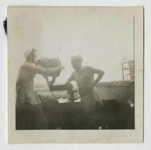 Primary view of object titled '[Photograph of Navy Sailors on U.S.S. Texas]'.