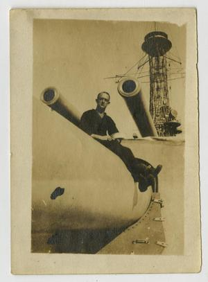 Primary view of object titled '[Photograph of Man on U.S.S. Texas]'.