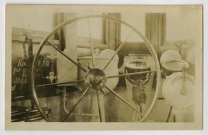 Primary view of object titled '[Photograph of U.S.S. Texas Steering Wheel]'.