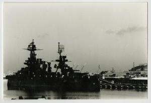 Primary view of object titled '[Photograph of U.S.S. Texas Near Galveston]'.