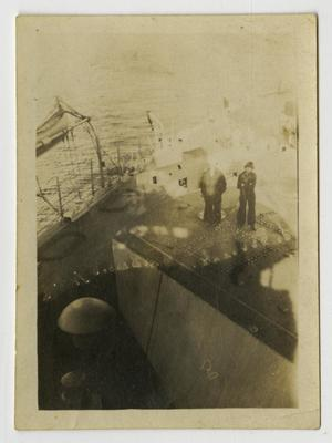 Primary view of object titled '[Photograph of Men on U.S.S. Texas]'.