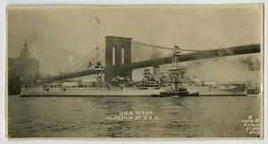 Primary view of object titled '[Photograph of U.S.S. Texas and Brooklyn Bridge]'.