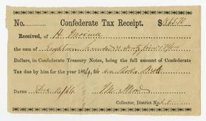 Primary view of object titled '[Henry Maxwell Confederate Tax Receipt, 1864]'.