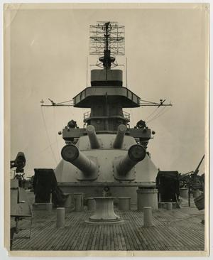 Primary view of object titled '[Photograph of U.S.S. Texas Mast and Guns]'.