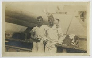 Primary view of object titled '[Photograph of Navy Men on U.S.S. Texas]'.