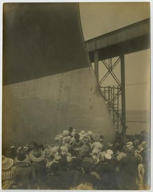 Primary view of object titled '[Photograph of U.S.S. Texas Launching Ceremony]'.