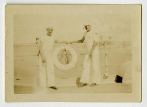 Primary view of object titled '[Photograph of Sailors on U.S.S. Texas]'.