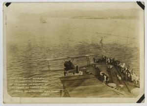 Primary view of object titled '[Photograph of First Airplane Flight off of American Battleship]'.