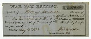 Primary view of object titled '[Henry Maxwell Confederate Tax Receipt, 1861]'.