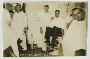 Primary view of object titled '[Photograph of U.S.S. Texas Barber Shop]'.