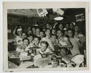 Primary view of object titled '[Photograph of U.S.S. Texas Crew on V-J Day]'.