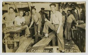 Primary view of object titled '[Photograph of U.S.S. Texas Carpenter Shop]'.