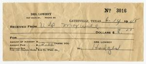 Primary view of object titled '[Receipt from Drs. Lowrey to U. D. Maxwell, 1948]'.