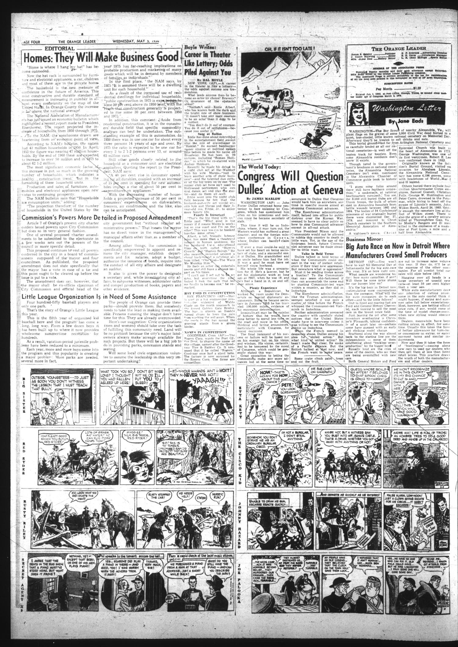 The Orange Leader (Orange, Tex.), Vol. 52, No. 109, Ed. 1 Wednesday, May 5, 1954                                                                                                      [Sequence #]: 4 of 12