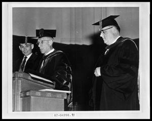 Primary view of object titled 'HSU Graduation, at Podium'.
