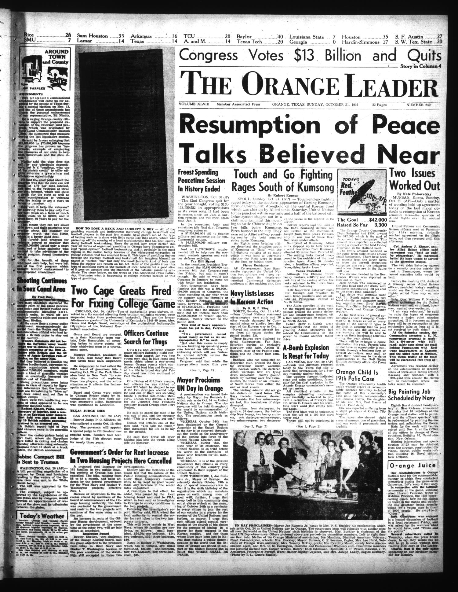 The Orange Leader (Orange, Tex.), Vol. 48, No. 249, Ed. 1 Sunday, October 21, 1951                                                                                                      [Sequence #]: 1 of 14