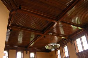 Primary view of object titled 'Presidio County Courthouse, Marfa, detail of courtroom ceiling'.