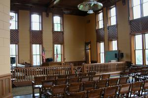 Primary view of object titled 'Presidio County Courthouse, Marfa, courtroom'.