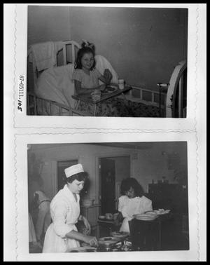 Primary view of object titled 'Child in Bed Eating Meal; Nurses Preparing Meal Trays'.