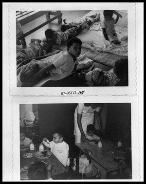 Primary view of object titled 'Children at Polio Unit Eating; Children at Polio Unit Napping'.