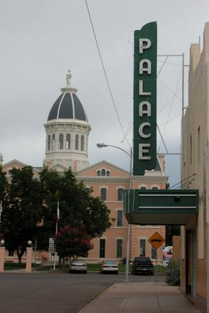 Presidio County Courthouse, Marfa, and the sign for the Palace Theatre