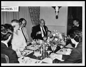 Primary view of object titled 'Group Having Dinner with British Prime Minister'.